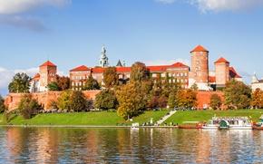 Picture Wawel, Poland, castle, people, trees, river, autumn, promenade, the sun, Krakow, boats, Wawel Royal Castle, …