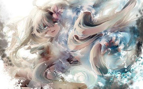 Picture girl, flowers, anime, tears, art, vocaloid, hatsune miku, saihate