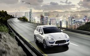 Picture road, the city, Porsche, Porsche, Porsche Cayenne, skyscrapers, Cayenne, porcien, cayenne-turbo
