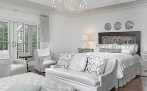 Wallpaper white, design, style, sofa, bed, chairs, mirror, bedroom
