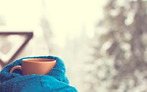 Wallpaper hot, cup, snow, scarf, Cup, winter, coffee
