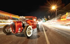 Picture red, wheels, road, hot rod, tuning, night, retro, power, custom, america, freez light
