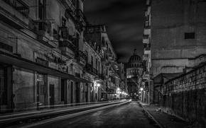 Picture night, excerpt, black and white, Capitol, architecture, Cuba, Havana