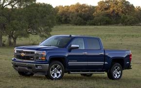 Picture blue, background, Chevrolet, Chevrolet, pickup, Crew Cab, Silverado, Z71, Silverado