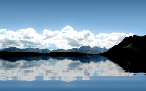 Wallpaper wave, clouds, mountains, reflection, Water