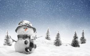 Picture winter, snow, trees, landscape, nature, snowman