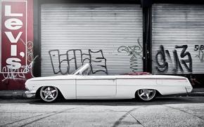 Picture street, graffiti, Chevrolet, white, white, convertible, Chevrolet, Impala, Impala