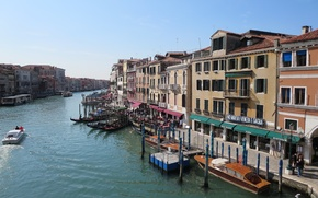 Picture building, boats, Italy, Venice, Italy, gondola, Venice, Italia, Venice, the Grand canal, Grand canal