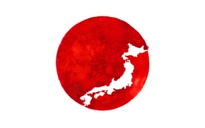 Picture Japan, flag, silhouette, Japan