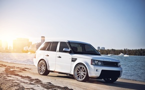 Picture megapolis, range Rover, sport, Range Rover, Land Rover, the city, white, yachts, sand, river, the ...
