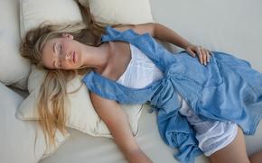 Picture beautiful, blonde, sleeping, peaceful, asleep