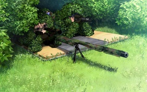 Picture grass, binoculars, disguise, sniper, two, sight, rifle, the bushes, art, grisa of no kajitsu, yuuji …