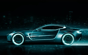 Picture style, neon, car, the throne, tron