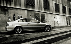 Wallpaper black and white, 3Series, BMW, noise