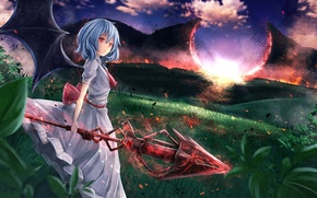 Picture the sky, girl, clouds, landscape, sunset, nature, weapons, magic, wings, anime, art, spear, touhou, remilia …