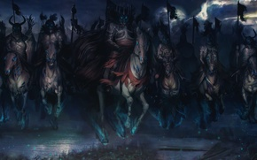 Picture darkness, horses, riders, art, The Witcher 3: Wild Hunt, The Witcher 3: wild hunt, Wild …