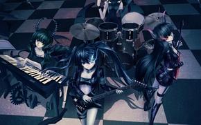 Picture girls, group, anime, Black Rock Shooter, takanashi yomi, Mato KURO, Dead Master, insane black rock …