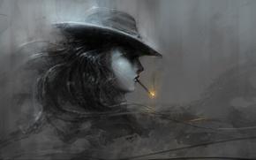 Picture hat, cigarette, black and white, girl, art, profile, fire