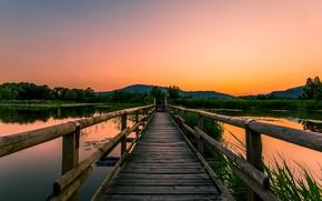 Picture bridge, river, Sunset, evening.