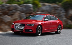 Picture Audi, Red, Side, Sportback, (2015), Wiev