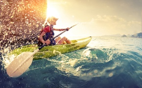 Picture water, sun, rowing, ski