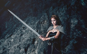 Picture girl, background, sword