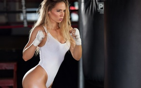 Picture boxing, blonde, fitness, training, transpiration