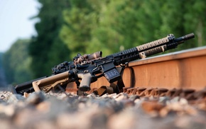 Picture weapons, rails, AR-15, assault rifle