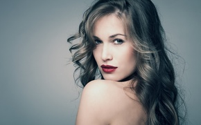 Picture look, girl, background, hair, makeup, lips, shoulders, curls