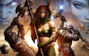 Picture girl, war, mask, art, spear, axe, fantasy, warriors