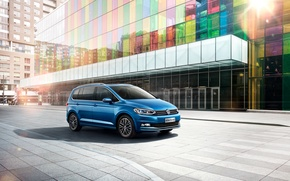 Picture Auto, Volkswagen, Machine, Blue, Car, 2016, Touran