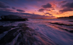 Picture waves, rock, coast, sunset