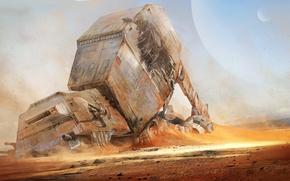 Picture desert, planet, robot, Star Wars, the ruins, Star Wars
