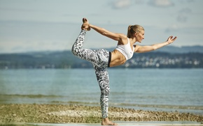 Wallpaper pose, yoga, sportswear, sea, beach