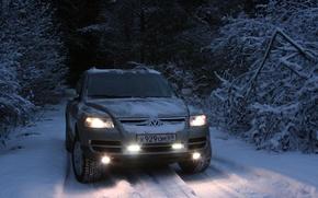 Picture winter, forest, snow, machine, background, Wallpaper, walk, winter road