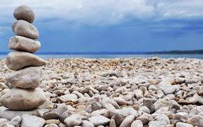 Picture sand, sea, stones