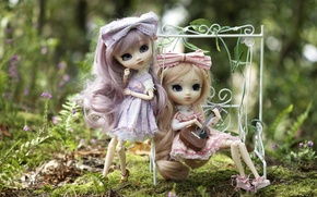 Picture nature, swing, girls, toys, guitar, doll