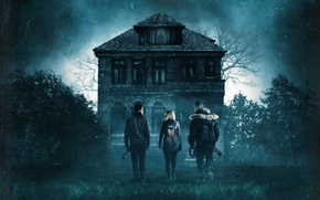Wallpaper poster, three, window, garden, trees, guys, Thriller, the old man, house, girl, night, the robbers, ...