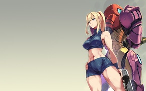 Picture robot, armor, woman, blonde, Metroid