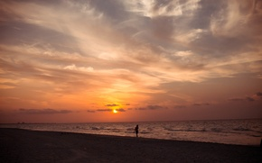 Picture sea, beach, sunset, nature, silhouette, Cuba