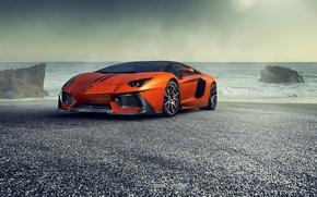 Picture Lamborghini, Orange, Front, Vorsteiner, Sea, Supercar, Zaragoza, Aventador-V, LP740-4