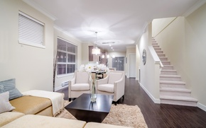 Picture flowers, design, house, style, white, interior, chair, ladder, living room