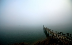 Wallpaper fog, pier