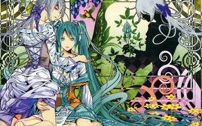 Picture flowers, pattern, shadow, corset, vocaloid, bow, Hatsune Miku, long hair, art, Ayumi Kasai, Yowane Haku