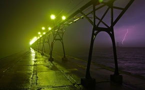 Picture night, lights, lightning, Bridge, lighting