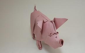 Picture paper, pig, origami