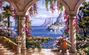 Picture picture, painting, painting, Sung Kim, Italian coast, evening in Capri