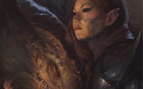 Wallpaper look, girl, fiction, dragon, tattoo, art