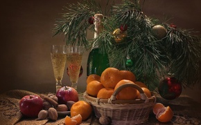 Picture holiday, apples, glasses, nuts, still life, cinnamon, champagne, pine, tangerines