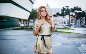 Picture look, girl, face, street, hair, dress, beauty